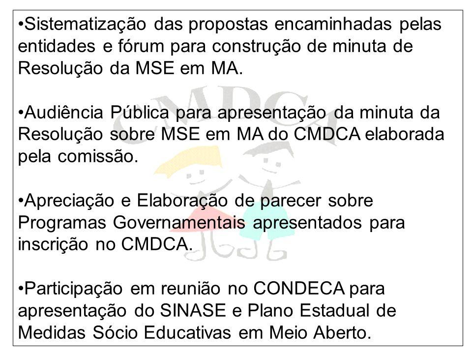 Sistematização das propostas encaminhadas pelas entidades e fórum para construção de minuta de Resolução da MSE em MA. Audiência Pública para apresent