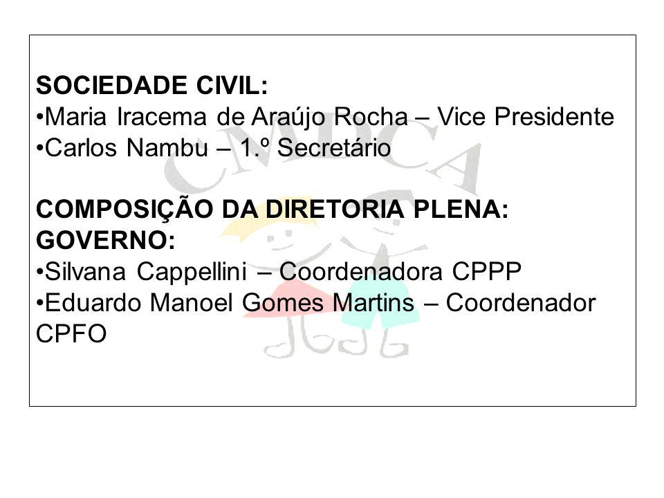 SOCIEDADE CIVIL: Maria Iracema de Araújo Rocha – Vice Presidente Carlos Nambu – 1.º Secretário COMPOSIÇÃO DA DIRETORIA PLENA: GOVERNO: Silvana Cappell