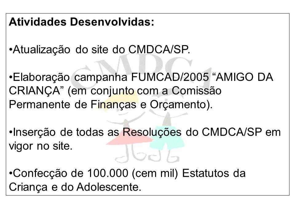 Atividades Desenvolvidas: Atualização do site do CMDCA/SP. Elaboração campanha FUMCAD/2005 AMIGO DA CRIANÇA (em conjunto com a Comissão Permanente de