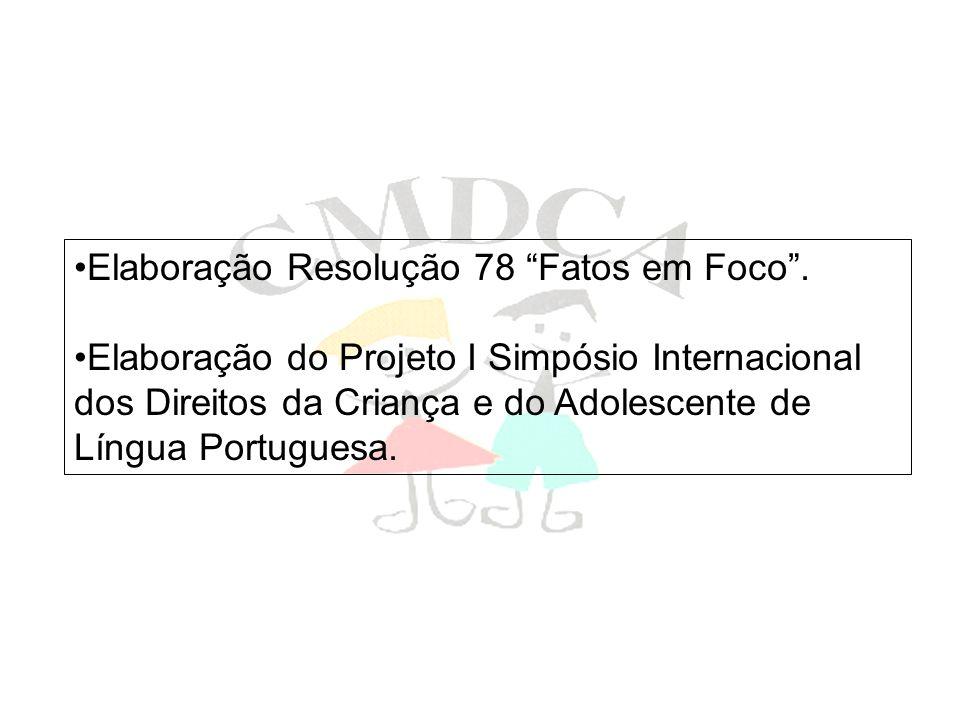 Elaboração Resolução 78 Fatos em Foco. Elaboração do Projeto I Simpósio Internacional dos Direitos da Criança e do Adolescente de Língua Portuguesa.