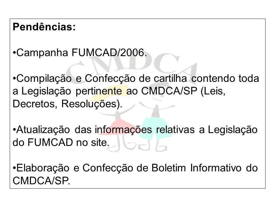 Pendências: Campanha FUMCAD/2006. Compilação e Confecção de cartilha contendo toda a Legislação pertinente ao CMDCA/SP (Leis, Decretos, Resoluções). A