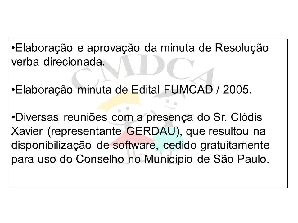 Elaboração e aprovação da minuta de Resolução verba direcionada. Elaboração minuta de Edital FUMCAD / 2005. Diversas reuniões com a presença do Sr. Cl