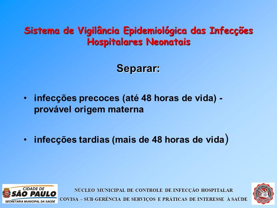 NÚCLEO MUNICIPAL DE CONTROLE DE INFECÇÃO HOSPITALAR COVISA – SUB-GERÊNCIA DE SERVIÇOS E PRÁTICAS DE INTERESSE À SAÚDE Sistema de Vigilância Epidemioló