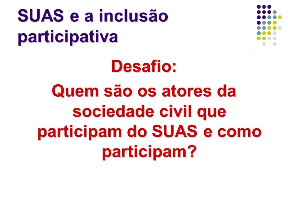 SUAS e a inclusão participativa Desafio: Quem são os atores da sociedade civil que participam do SUAS e como participam?