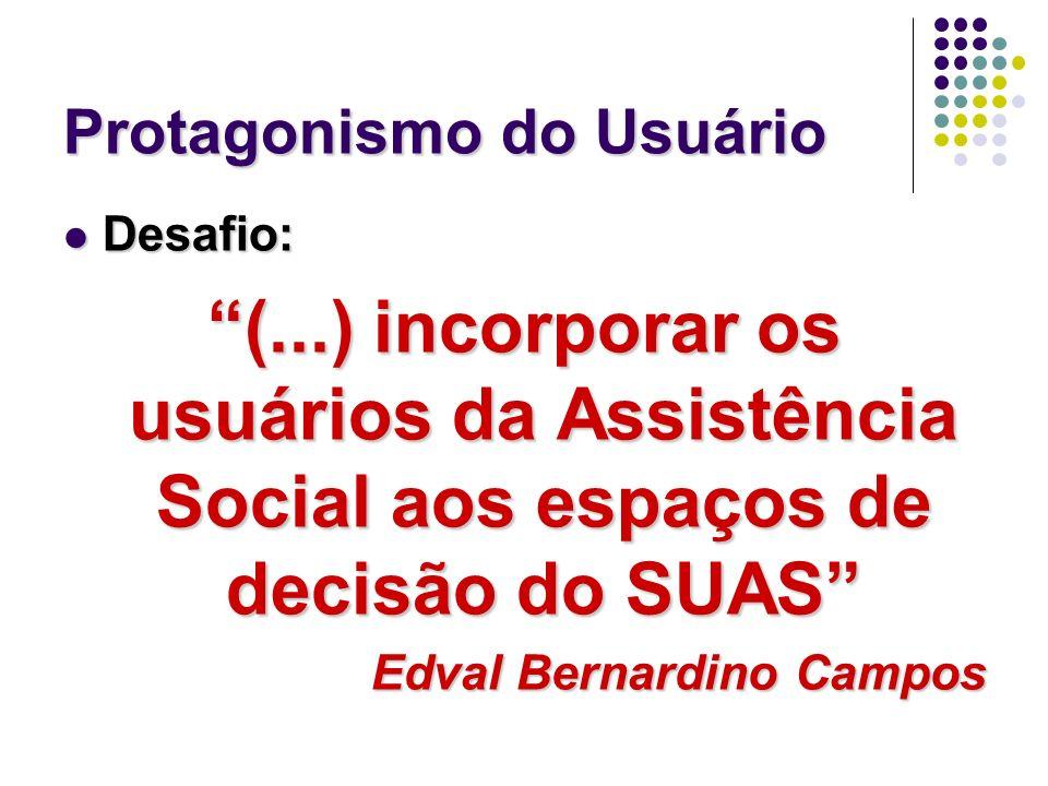 Protagonismo do Usuário Desafio: Desafio: (...) incorporar os usuários da Assistência Social aos espaços de decisão do SUAS Edval Bernardino Campos