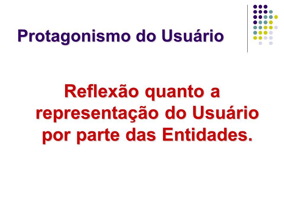 Protagonismo do Usuário Reflexão quanto a representação do Usuário por parte das Entidades.
