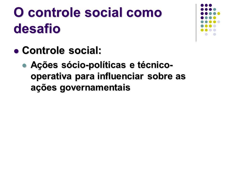 O controle social como desafio Controle social: Controle social: Ações sócio-políticas e técnico- operativa para influenciar sobre as ações governamentais Ações sócio-políticas e técnico- operativa para influenciar sobre as ações governamentais