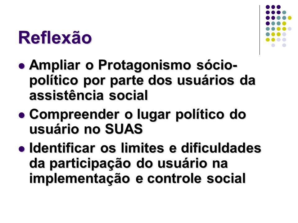 Reflexão Ampliar o Protagonismo sócio- político por parte dos usuários da assistência social Ampliar o Protagonismo sócio- político por parte dos usuá
