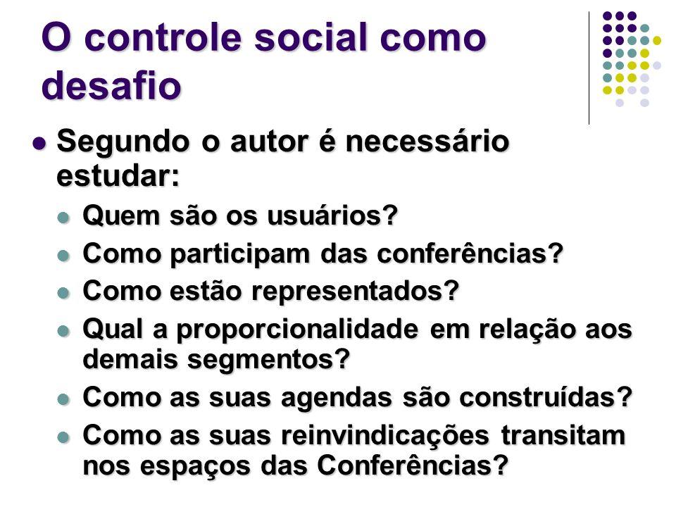 O controle social como desafio Segundo o autor é necessário estudar: Segundo o autor é necessário estudar: Quem são os usuários.