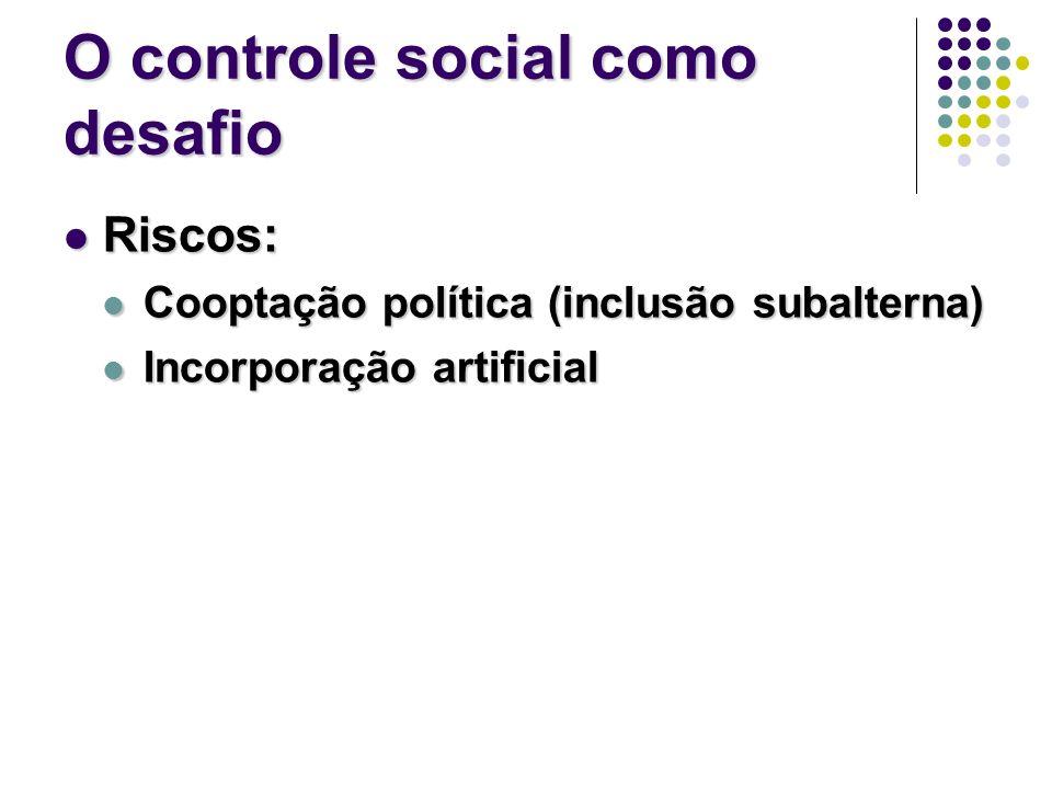 O controle social como desafio Riscos: Riscos: Cooptação política (inclusão subalterna) Cooptação política (inclusão subalterna) Incorporação artificial Incorporação artificial
