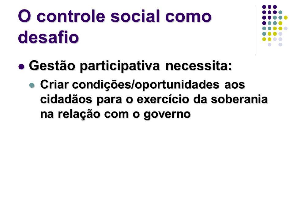 O controle social como desafio Gestão participativa necessita: Gestão participativa necessita: Criar condições/oportunidades aos cidadãos para o exerc