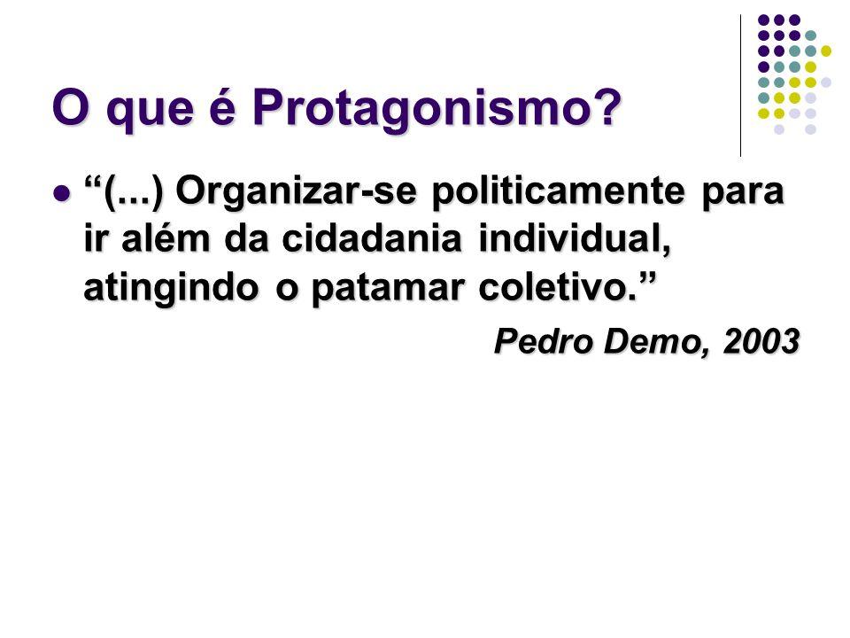 O que é Protagonismo? (...) Organizar-se politicamente para ir além da cidadania individual, atingindo o patamar coletivo. (...) Organizar-se politica