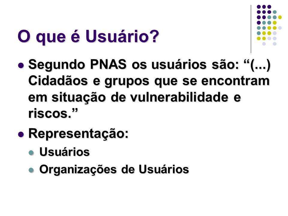 O que é Usuário? Segundo PNAS os usuários são: (...) Cidadãos e grupos que se encontram em situação de vulnerabilidade e riscos. Segundo PNAS os usuár