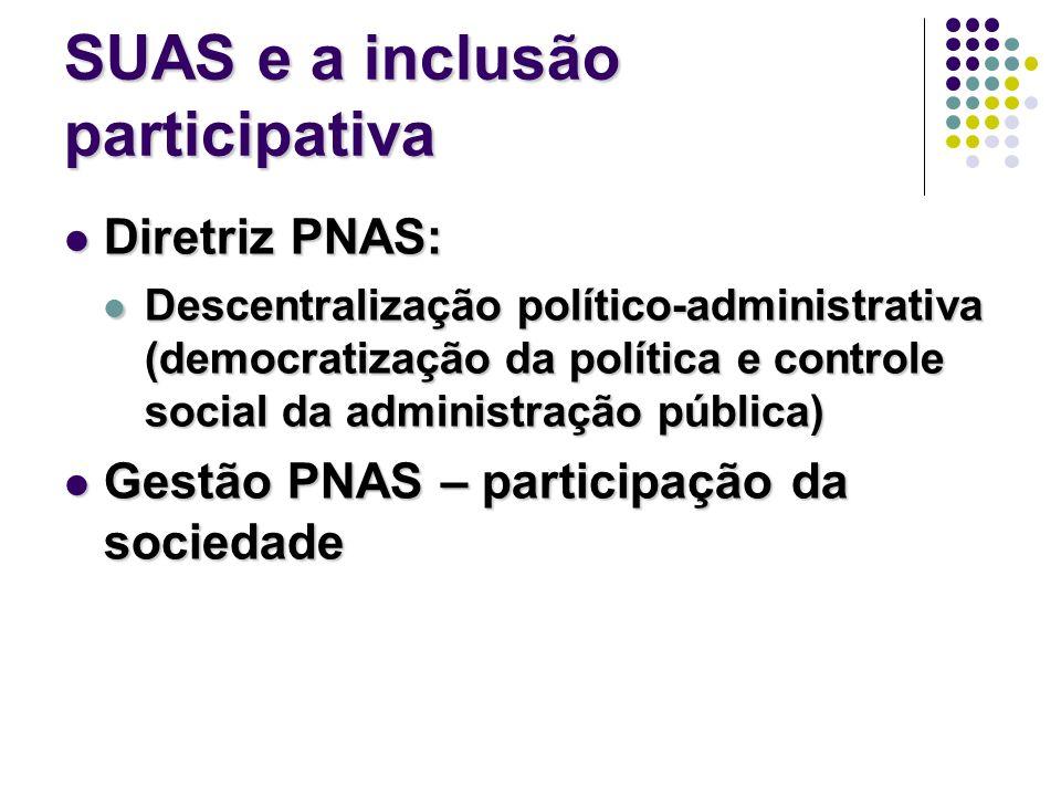 SUAS e a inclusão participativa Diretriz PNAS: Diretriz PNAS: Descentralização político-administrativa (democratização da política e controle social d
