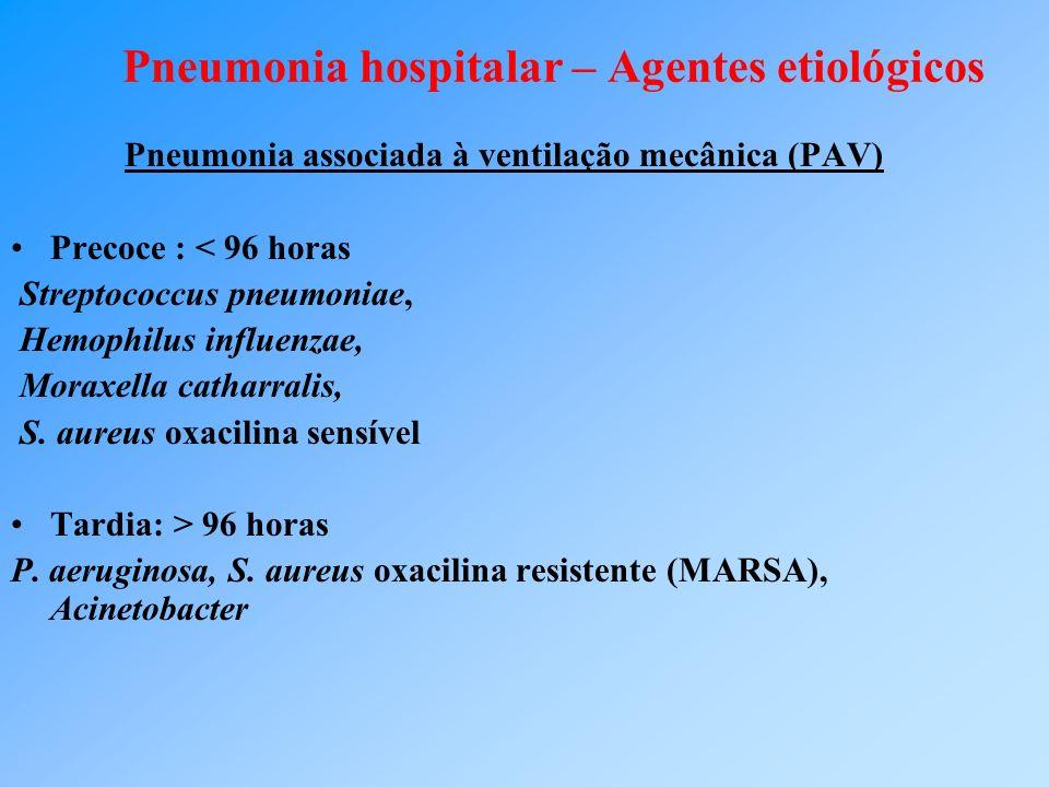 Pneumonia hospitalar – Agentes etiológicos Pneumonia associada à ventilação mecânica (PAV) Precoce : < 96 horas Streptococcus pneumoniae, Hemophilus influenzae, Moraxella catharralis, S.
