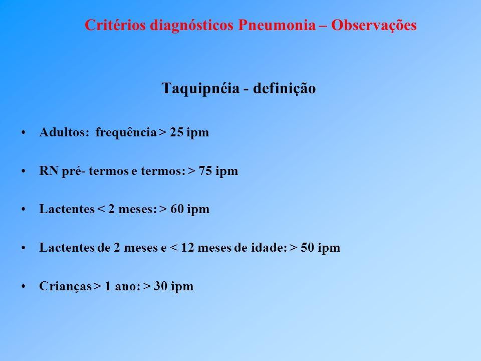 Critérios diagnósticos Pneumonia – Observações Taquipnéia - definição Adultos: frequência > 25 ipm RN pré- termos e termos: > 75 ipm Lactentes 60 ipm Lactentes de 2 meses e 50 ipm Crianças > 1 ano: > 30 ipm