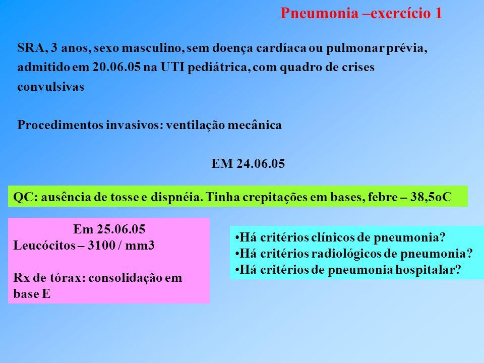 Pneumonia –exercício 1 SRA, 3 anos, sexo masculino, sem doença cardíaca ou pulmonar prévia, admitido em 20.06.05 na UTI pediátrica, com quadro de crises convulsivas Procedimentos invasivos: ventilação mecânica EM 24.06.05 QC: ausência de tosse e dispnéia.