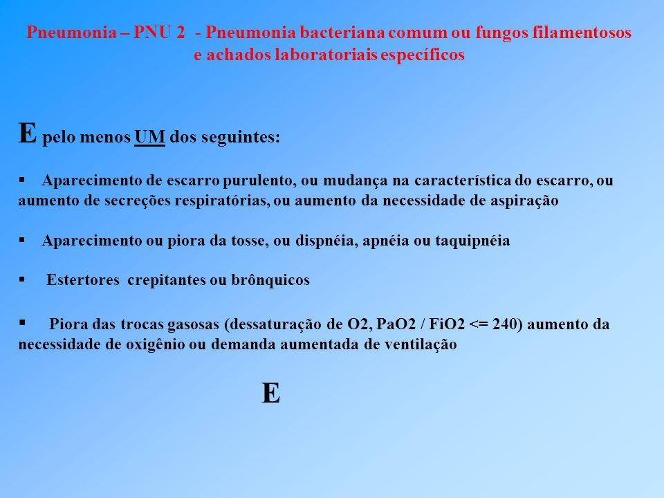 Pneumonia – PNU 2 - Pneumonia bacteriana comum ou fungos filamentosos e achados laboratoriais específicos E pelo menos UM dos seguintes: Aparecimento