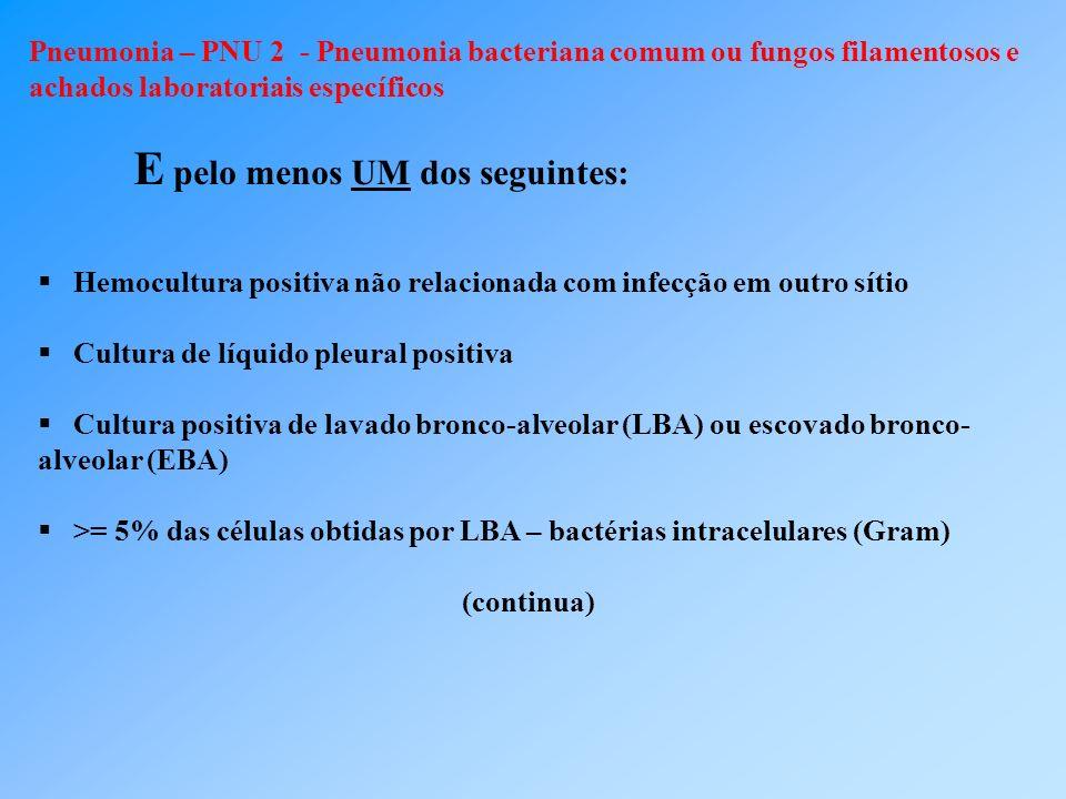 Pneumonia – PNU 2 - Pneumonia bacteriana comum ou fungos filamentosos e achados laboratoriais específicos E pelo menos UM dos seguintes: Hemocultura p
