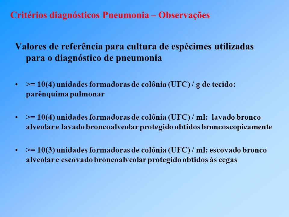 Critérios diagnósticos Pneumonia – Observações Valores de referência para cultura de espécimes utilizadas para o diagnóstico de pneumonia >= 10(4) uni