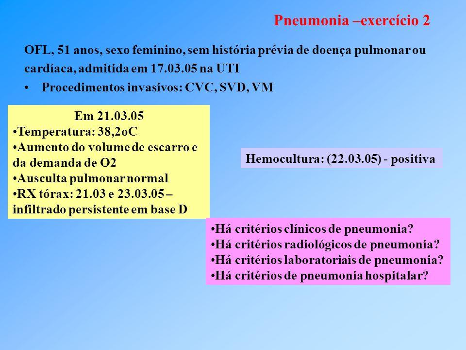 Pneumonia –exercício 2 OFL, 51 anos, sexo feminino, sem história prévia de doença pulmonar ou cardíaca, admitida em 17.03.05 na UTI Procedimentos invasivos: CVC, SVD, VM Em 21.03.05 Temperatura: 38,2oC Aumento do volume de escarro e da demanda de O2 Ausculta pulmonar normal RX tórax: 21.03 e 23.03.05 – infiltrado persistente em base D Hemocultura: (22.03.05) - positiva Há critérios clínicos de pneumonia.