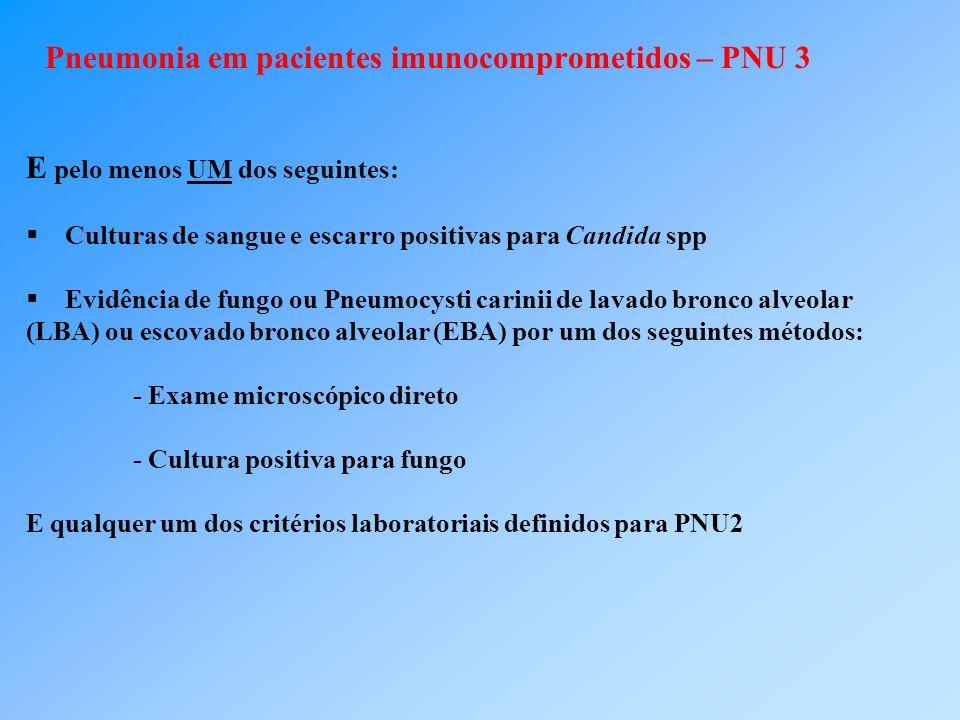 Pneumonia em pacientes imunocomprometidos – PNU 3 E pelo menos UM dos seguintes: Culturas de sangue e escarro positivas para Candida spp Evidência de fungo ou Pneumocysti carinii de lavado bronco alveolar (LBA) ou escovado bronco alveolar (EBA) por um dos seguintes métodos: - Exame microscópico direto - Cultura positiva para fungo E qualquer um dos critérios laboratoriais definidos para PNU2
