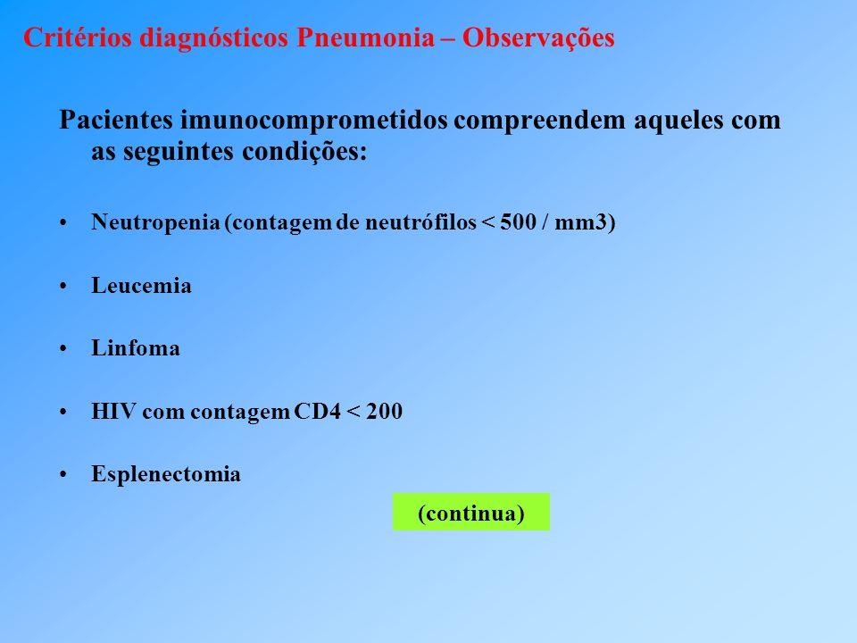 Critérios diagnósticos Pneumonia – Observações Pacientes imunocomprometidos compreendem aqueles com as seguintes condições: Neutropenia (contagem de n