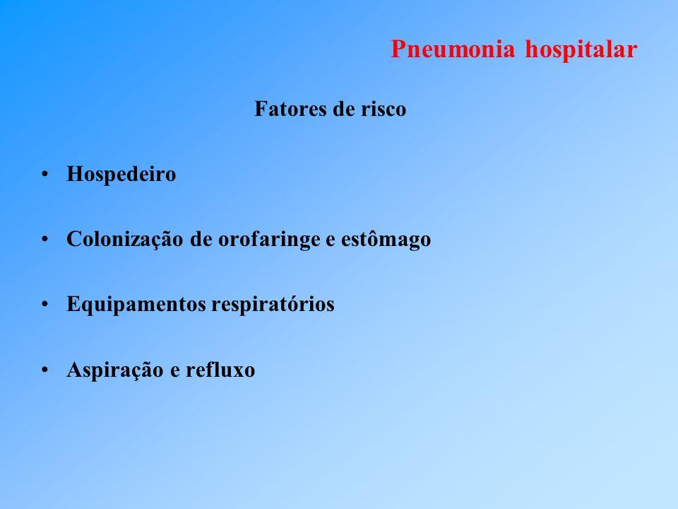 Pneumonia hospitalar Fatores de risco Hospedeiro Colonização de orofaringe e estômago Equipamentos respiratórios Aspiração e refluxo