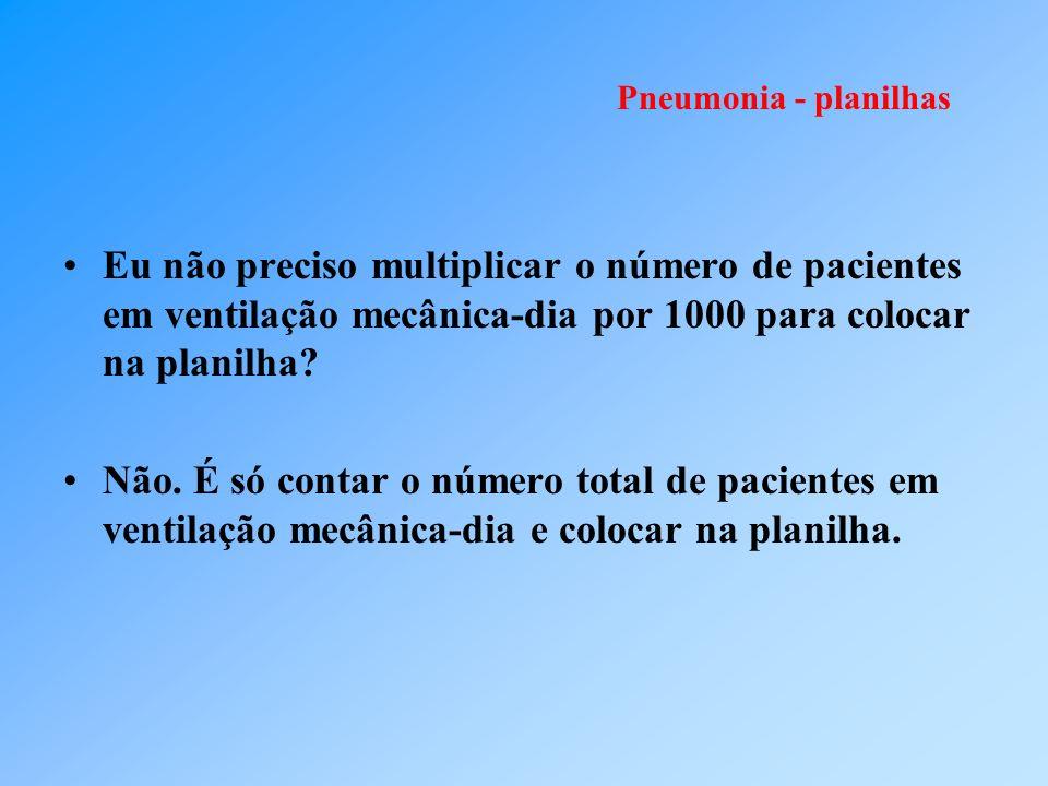 Pneumonia - planilhas Eu não preciso multiplicar o número de pacientes em ventilação mecânica-dia por 1000 para colocar na planilha? Não. É só contar