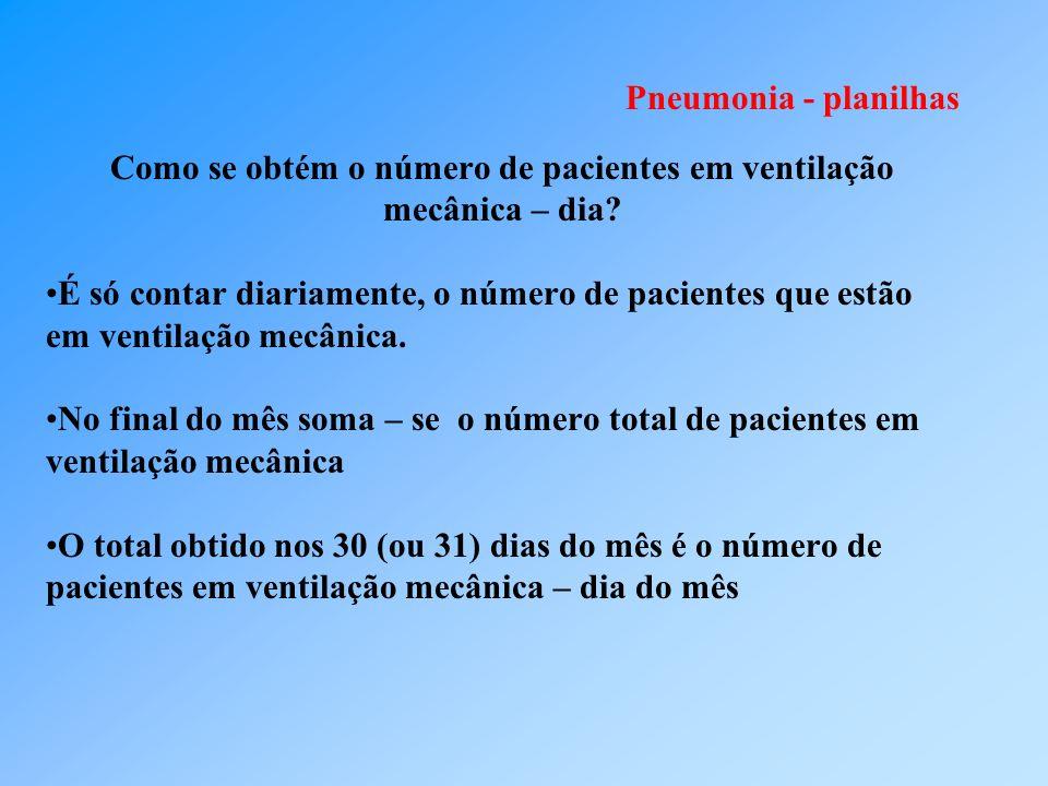 Pneumonia - planilhas Como se obtém o número de pacientes em ventilação mecânica – dia? É só contar diariamente, o número de pacientes que estão em ve