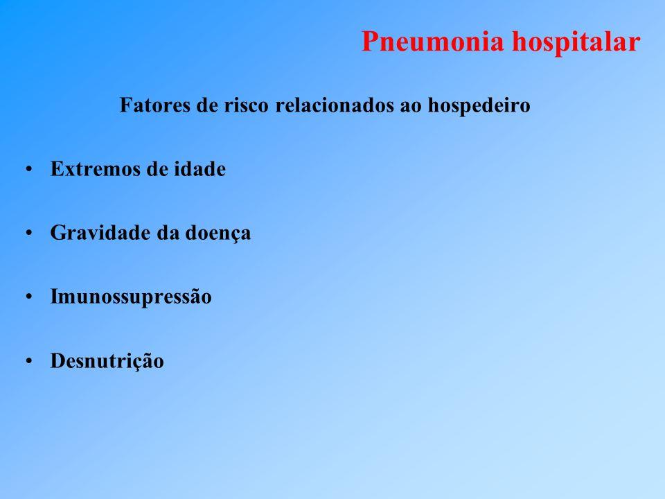 Pneumonia hospitalar Fatores de risco relacionados ao hospedeiro Extremos de idade Gravidade da doença Imunossupressão Desnutrição