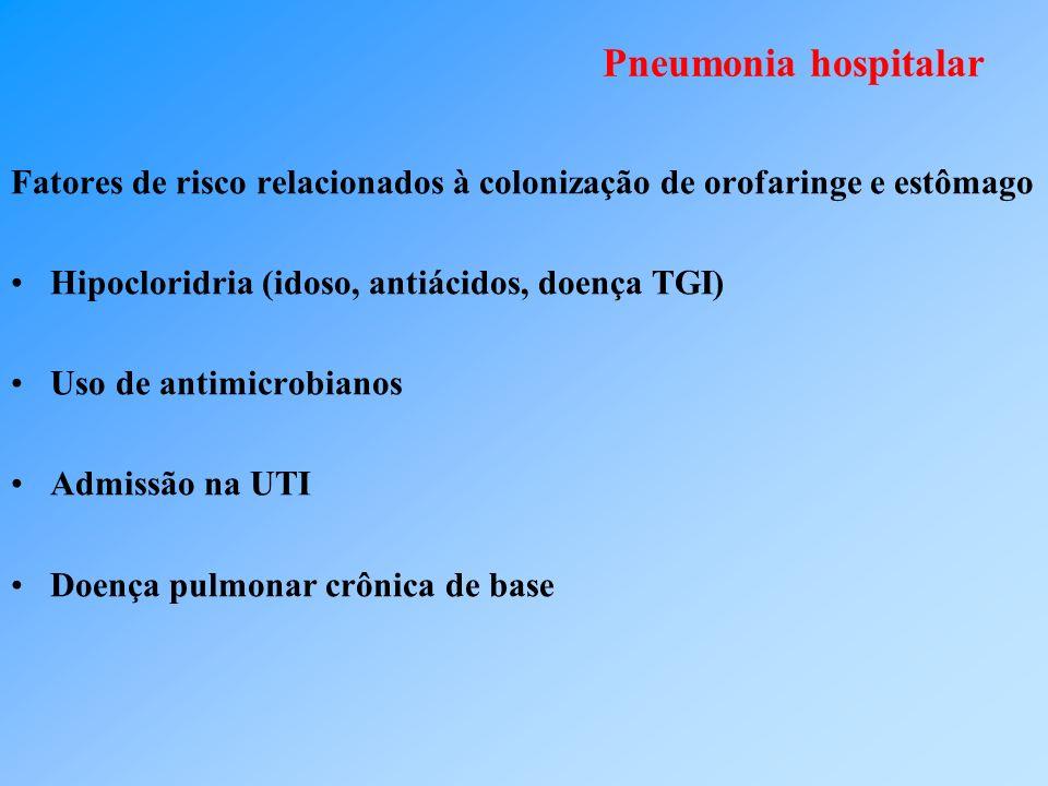 Pneumonia hospitalar Fatores de risco relacionados à colonização de orofaringe e estômago Hipocloridria (idoso, antiácidos, doença TGI) Uso de antimicrobianos Admissão na UTI Doença pulmonar crônica de base