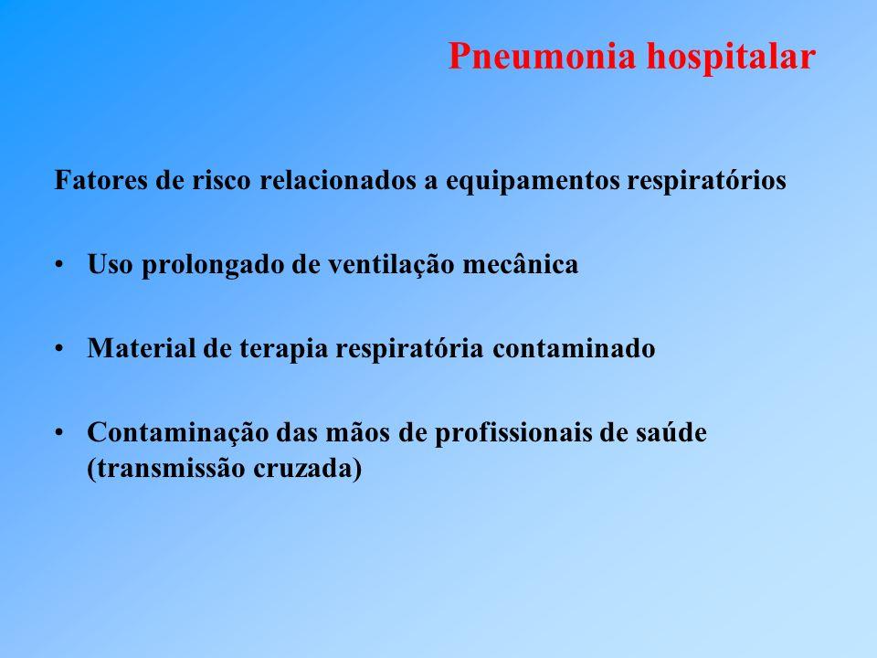 Pneumonia hospitalar Fatores de risco relacionados à aspiração e refluxo Dificuldade de deglutição Nível de consciência rebaixado (coma) Intubação / ventilação mecânica Doença ou instrumentação do TGI Cirurgia de cabeça e pescoço, torácica ou abdominal Imobilização, posição supina