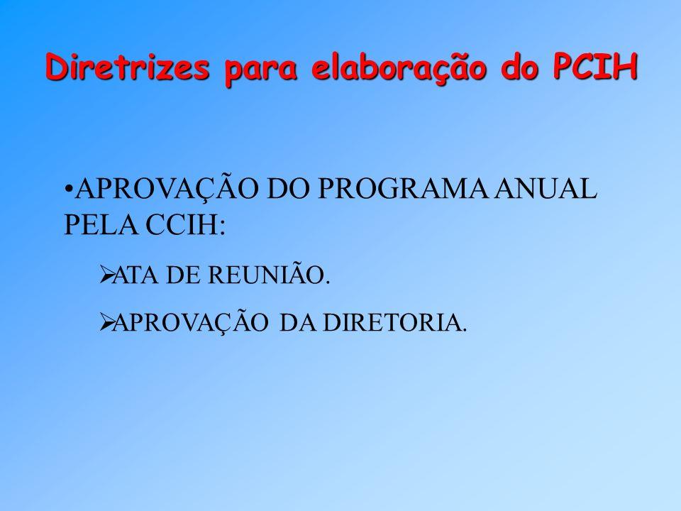 Diretrizes para elaboração do PCIH APROVAÇÃO DO PROGRAMA ANUAL PELA CCIH: ATA DE REUNIÃO. APROVAÇÃO DA DIRETORIA.