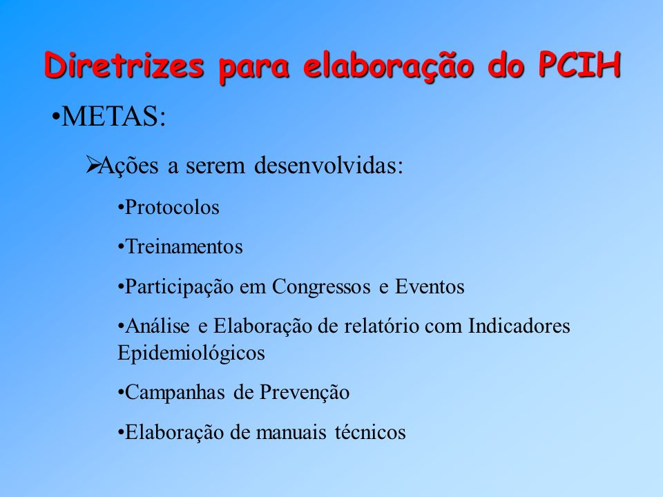 Diretrizes para elaboração do PCIH METAS: Ações a serem desenvolvidas: Protocolos Treinamentos Participação em Congressos e Eventos Análise e Elaboraç