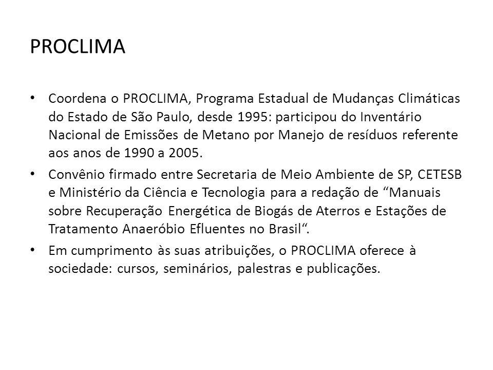 PROCLIMA Coordena o PROCLIMA, Programa Estadual de Mudanças Climáticas do Estado de São Paulo, desde 1995: participou do Inventário Nacional de Emissõ