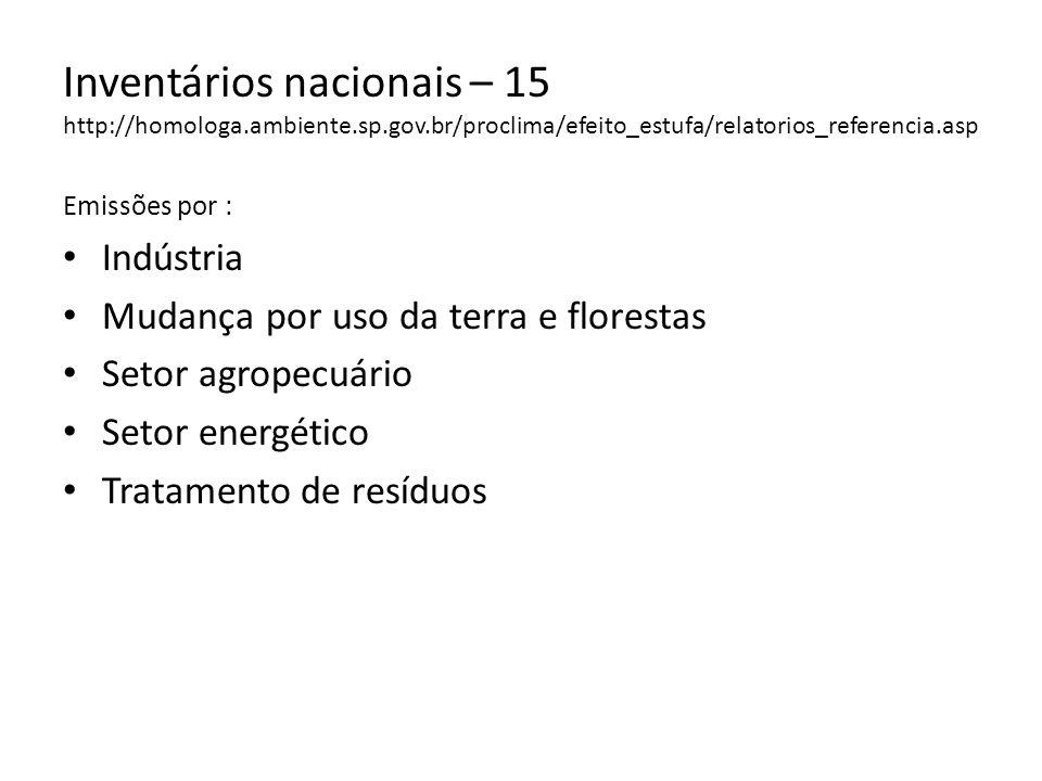Inventários nacionais – 15 http://homologa.ambiente.sp.gov.br/proclima/efeito_estufa/relatorios_referencia.asp Emissões por : Indústria Mudança por us