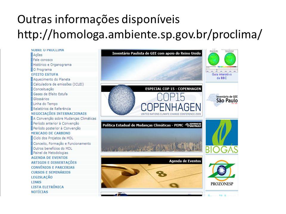Outras informações disponíveis http://homologa.ambiente.sp.gov.br/proclima/