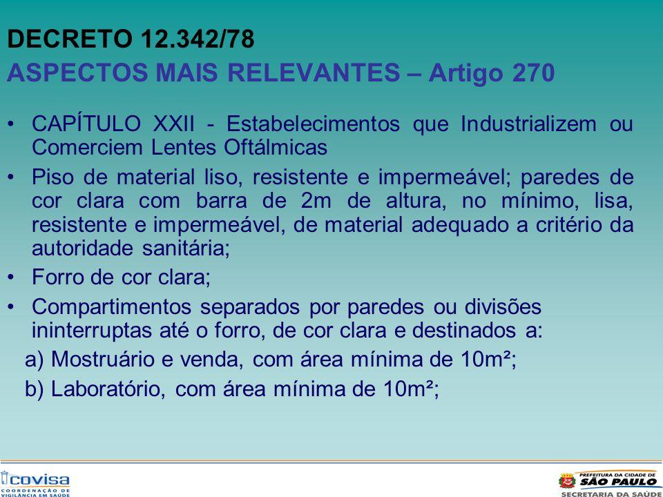 DECRETO 12.342/78 ASPECTOS MAIS RELEVANTES – Artigo 270 CAPÍTULO XXII - Estabelecimentos que Industrializem ou Comerciem Lentes Oftálmicas Piso de mat