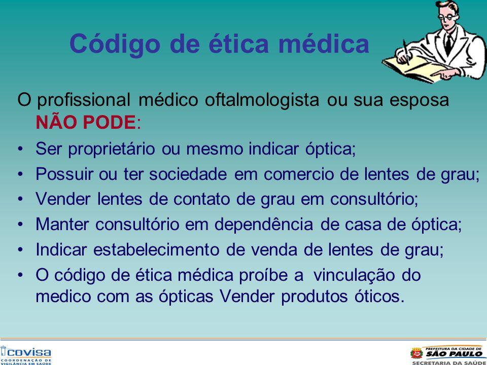Código de ética médica O profissional médico oftalmologista ou sua esposa NÃO PODE: Ser proprietário ou mesmo indicar óptica; Possuir ou ter sociedade
