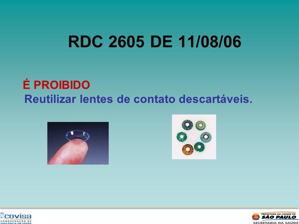 RDC 2605 DE 11/08/06 É PROIBIDO Reutilizar lentes de contato descartáveis.