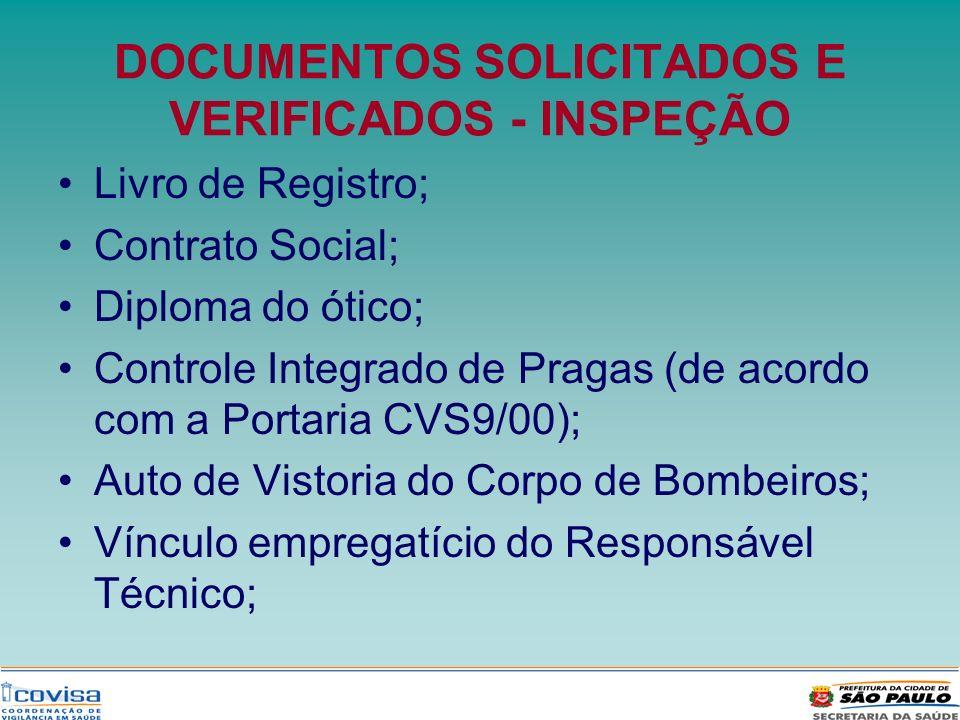 DOCUMENTOS SOLICITADOS E VERIFICADOS - INSPEÇÃO Livro de Registro; Contrato Social; Diploma do ótico; Controle Integrado de Pragas (de acordo com a Po