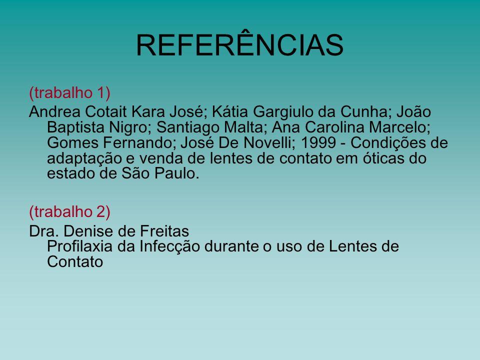 REFERÊNCIAS (trabalho 1) Andrea Cotait Kara José; Kátia Gargiulo da Cunha; João Baptista Nigro; Santiago Malta; Ana Carolina Marcelo; Gomes Fernando;