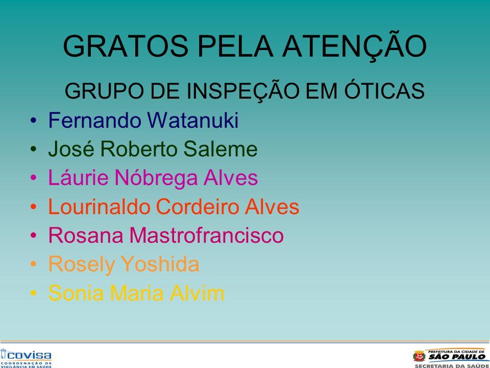 GRATOS PELA ATENÇÃO GRUPO DE INSPEÇÃO EM ÓTICAS Fernando Watanuki José Roberto Saleme Láurie Nóbrega Alves Lourinaldo Cordeiro Alves Rosana Mastrofran