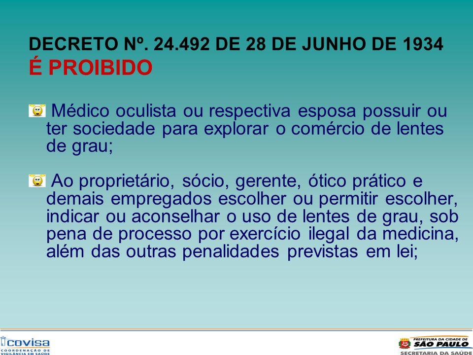 DECRETO Nº. 24.492 DE 28 DE JUNHO DE 1934 É PROIBIDO Médico oculista ou respectiva esposa possuir ou ter sociedade para explorar o comércio de lentes