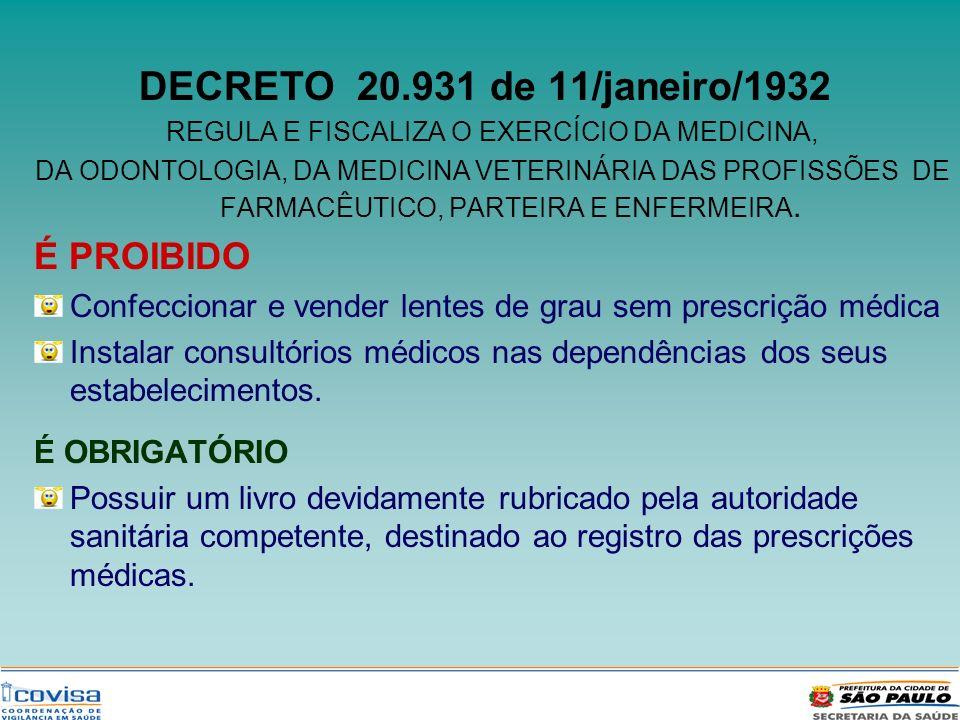 DECRETO 20.931 de 11/janeiro/1932 REGULA E FISCALIZA O EXERCÍCIO DA MEDICINA, DA ODONTOLOGIA, DA MEDICINA VETERINÁRIA DAS PROFISSÕES DE FARMACÊUTICO,