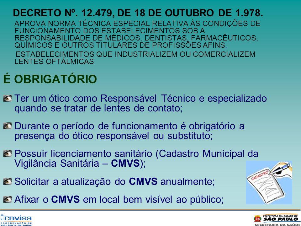 DECRETO Nº.12.479, DE 18 DE OUTUBRO DE 1.978.