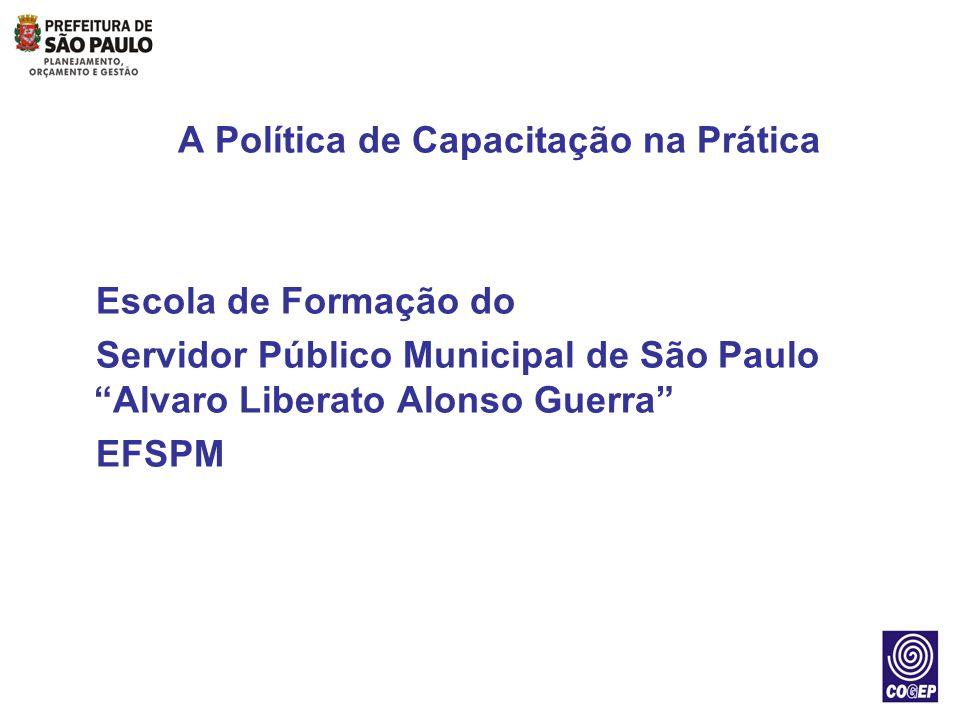 A Política de Capacitação na Prática Escola de Formação do Servidor Público Municipal de São Paulo Alvaro Liberato Alonso Guerra EFSPM