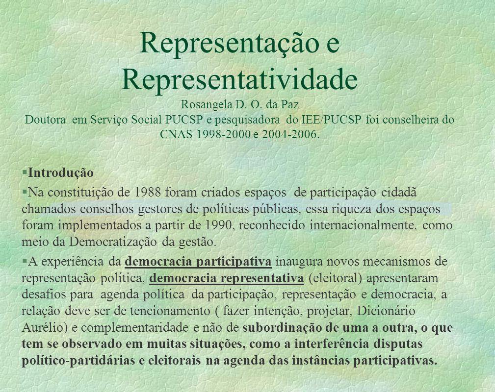 Representação e Representatividade Rosangela D.O.