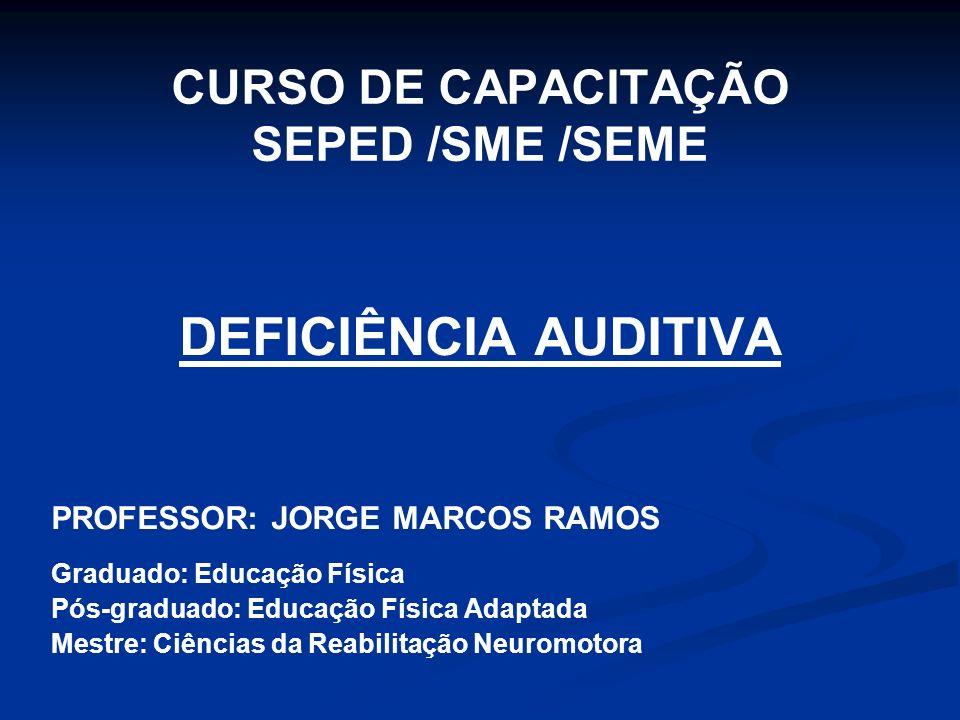 CURSO DE CAPACITAÇÃO SEPED /SME /SEME DEFICIÊNCIA AUDITIVA PROFESSOR: JORGE MARCOS RAMOS Graduado: Educação Física Pós-graduado: Educação Física Adapt